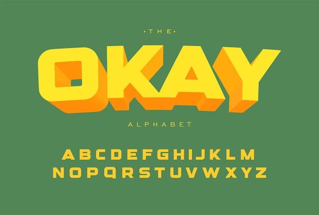 Яркий шаблон алфавита. простой геометрический полужирный шрифт для заголовков и текста в верхнем регистре. отдельные векторные буквы на зеленом фоне.