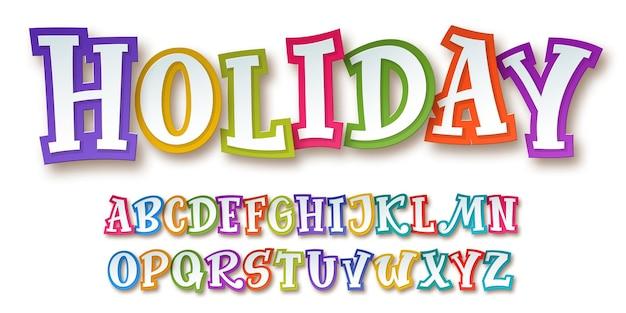 Яркий и красочный комический детский алфавит вырезанный из бумаги с 3d-эффектом на белом фоне. модный шрифт для праздничного декоративного оформления. векторная иллюстрация