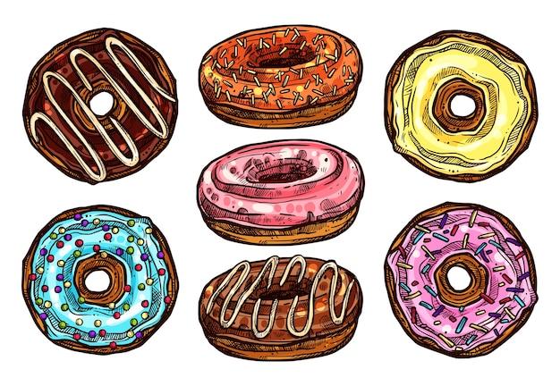 Яркий и красочный набор пончиков в стиле эскиза. коллекция рисованной десерта