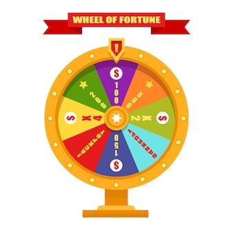 Яркое и золотое колесо фортуны. иллюстрация, плоский дизайн.