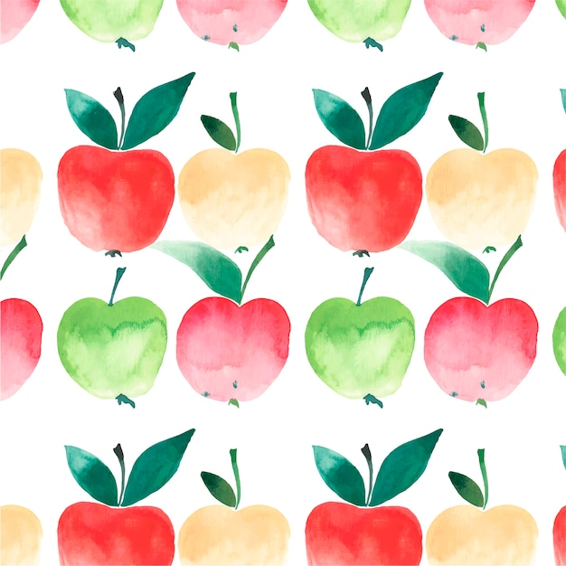 Bright autumn apples pattern watercolor