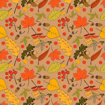 Bright autumn seamless pattern with leaves and fruits