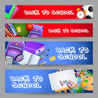 Bright back to school letterings set, stationery, backpacks
