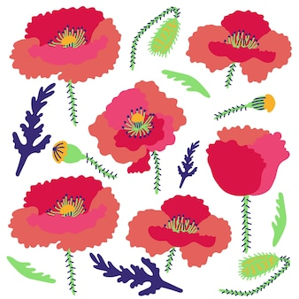 밝은 배경 양귀비 꽃 패턴