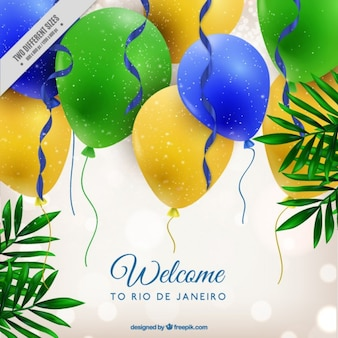 Bright background with colors balloons of brazil