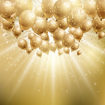 Bright background with gold balloons for birthday