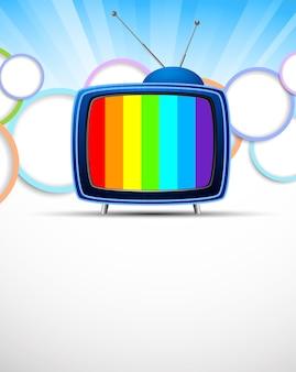 레트로 tv와 원 밝은 배경. 추상 화려한 그림