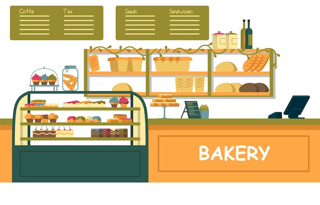 Bright bakery showcase with different pastries.
