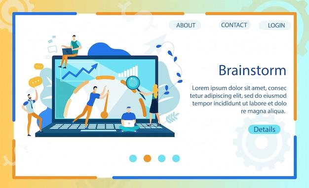 Bright banner brainstorm lettering cartoon flat
