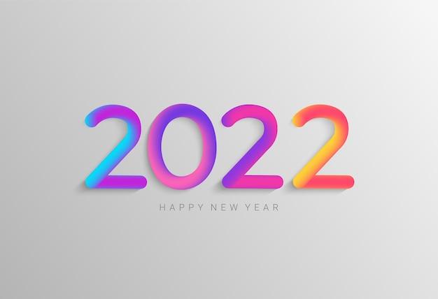 2022年の新年の明るいバナー。季節の休日のチラシ、おめでとう、ポスターのための幸せなグリーティングカード。素晴らしい休日を願ってカラフルな数字。ベクトルイラスト。