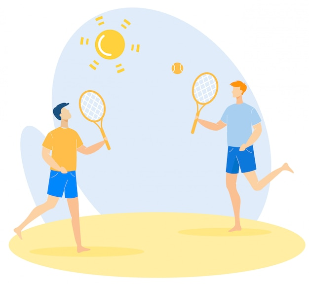 Bright banner fun tennis on beach cartoon flat.