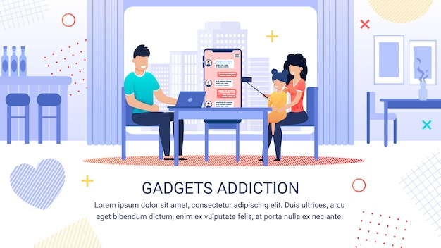 Bright banner inscription gadgets addiction template