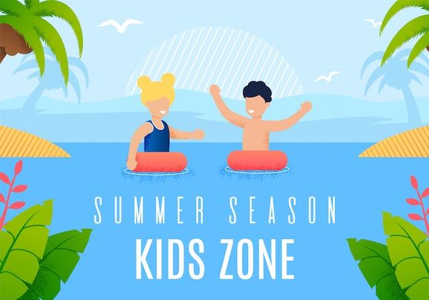 Bright banner inscription summer season kids zone