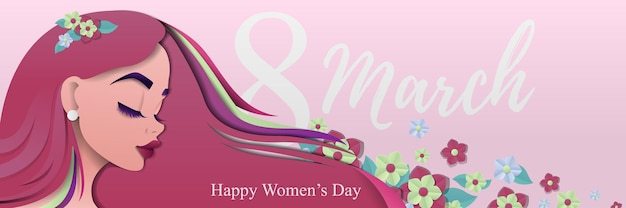 Bright banner for international women's day with a girl in flowers