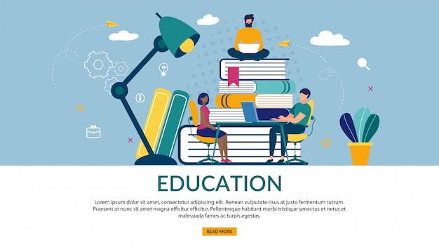 Bright banner of is written education, cartoon flat.
