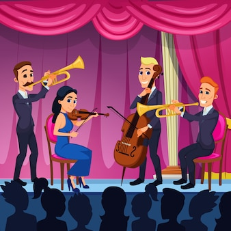 Bright banner orchestra classical music cartoon.