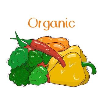 野菜と明るいバナーテンプレート。ビタミンc.オーガニック。はがき。ストックイラスト。