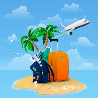 Яркий баннер с багажом, самолетом, островом, картой и билетами