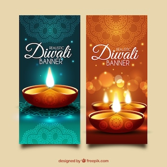 Bright banners of diwali festival