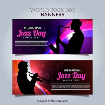 Bright banners with saxophonist silhouettes