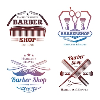 Bright barber shop emblems - men haircute salon labels