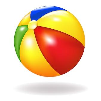 Яркий пляжный мяч, на белом фоне, иллюстрация