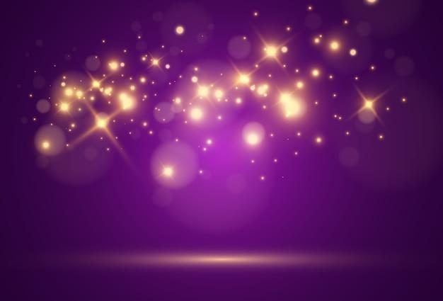 明るく美しい金色の火花星