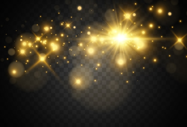 Bright beautiful golden sparks on a transparent background.