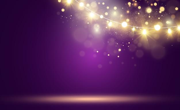 Bright, beautiful lights, design elements. garlands light.