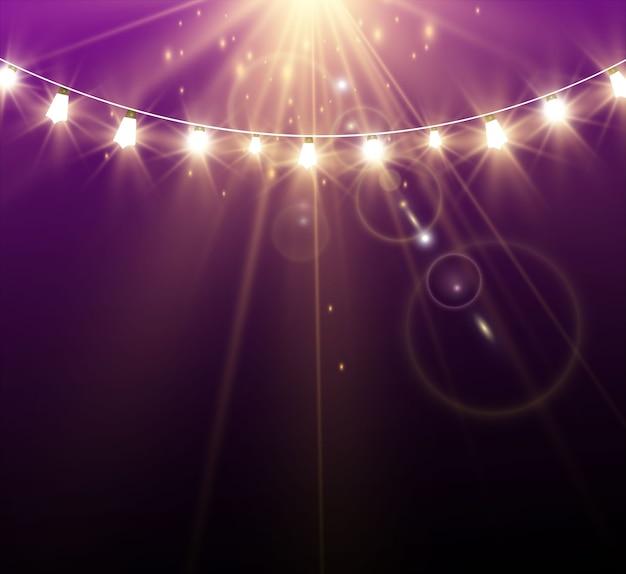 明るく美しい照明、デザイン要素。輝くライト