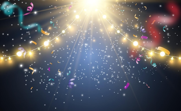 明るく美しいライト。輝くライト、花輪、紙吹雪。