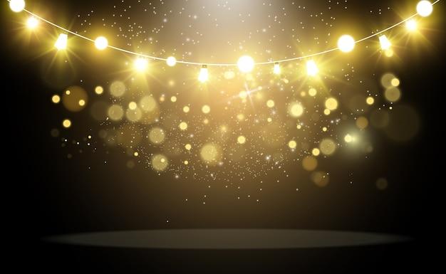 Яркие, красивые фонари. светящиеся огни гирлянды.
