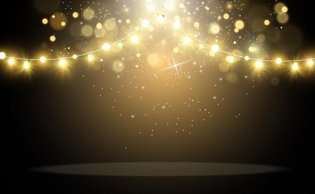 明るく美しいライト。輝く光の花輪。