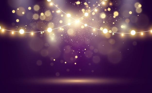 밝고 아름다운 조명. 빛나는 불빛 garlands.
