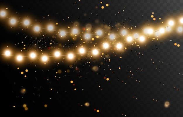 Яркие красивые новогодние гирлянды, рождественские огни, векторные иллюстрации