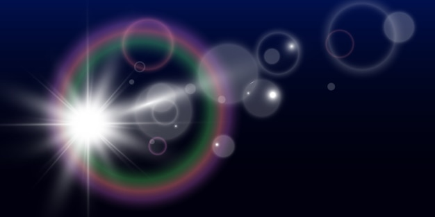 Bright beautiful star. illustration of a light effect on a transparent background.