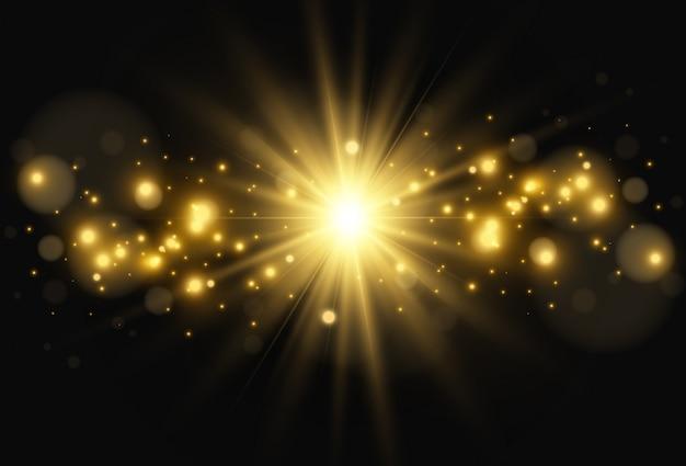 밝고 아름다운 별. 투명 배경에 조명 효과의 그림.