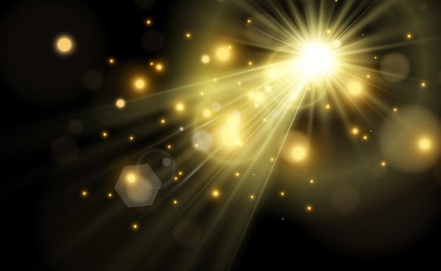 Яркая красивая звезда. иллюстрация светового эффекта на прозрачном фоне.