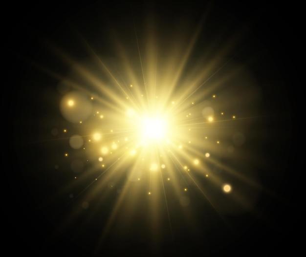 밝고 아름다운 별. 조명 효과의 그림