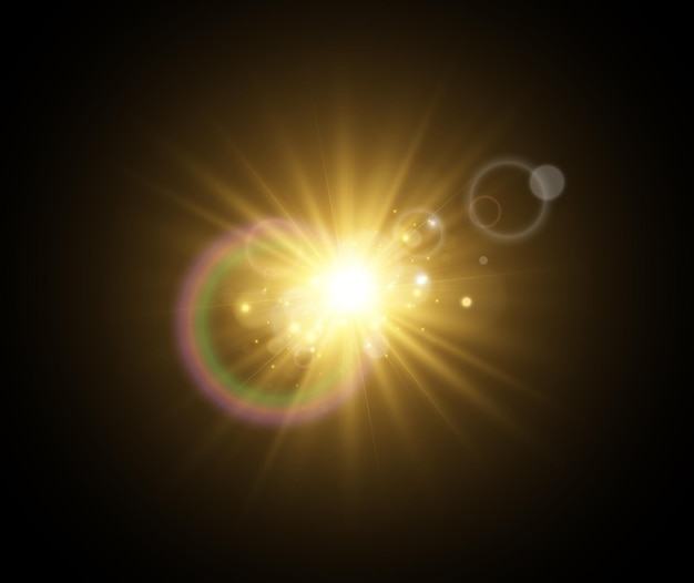 光の効果の明るく美しい星のイラスト