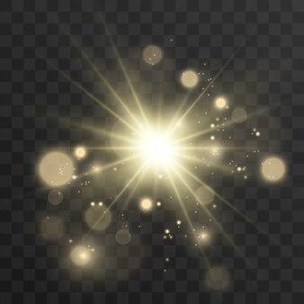 明るく美しい星。光の効果のイラスト