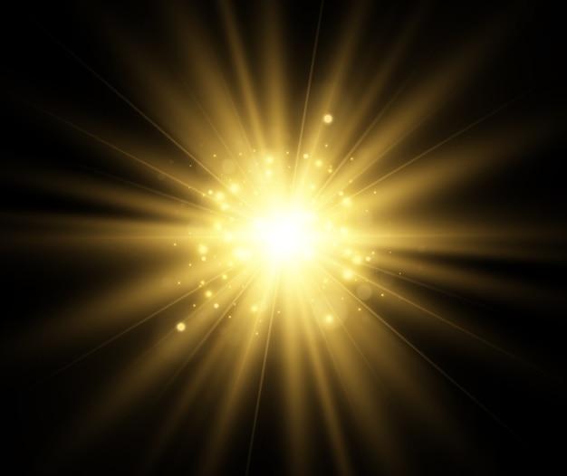 Яркая красивая звезда светового эффекта на прозрачном фоне