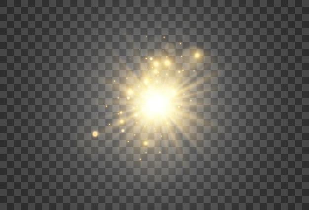 투명한 배경에 조명 효과의 밝고 아름다운 별