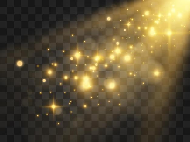 Яркая красивая звезда. сверкающие частицы волшебной пыли