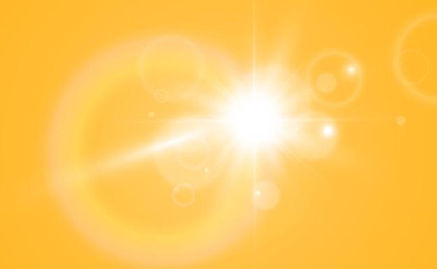 明るく美しい星。透明な背景に光の効果のベクトル図。