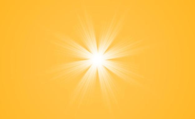 밝은 아름 다운 별. 투명 한 배경에 조명 효과의 벡터 일러스트 레이 션.