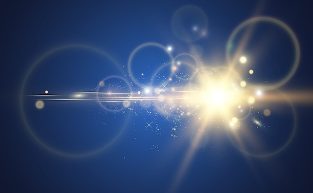 明るく美しい星。光の効果のベクトル図。