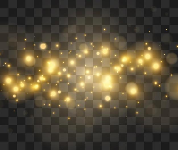 透明な光の効果の明るく美しい星のイラスト