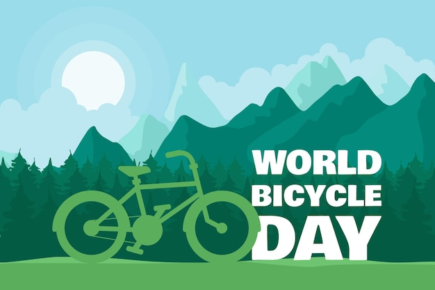 Bright bicycle as eco transport day greeting illustration with text, forest road and stylish cycle. june 3 event vector banner