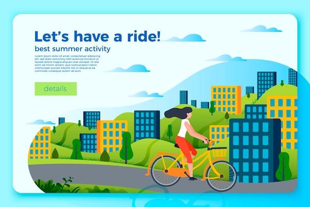 自転車に乗って女の子と明るい自転車ライドバナーテンプレート